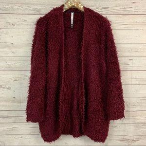 Kensie eyelash plush shaggy burgundy cardigan